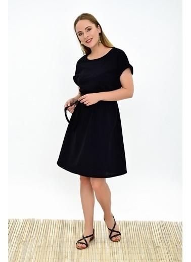 Cottonmood 9292931 Ikiiplik Beli Lastikli Yarasa Kol Elbise Gri Melanj Siyah